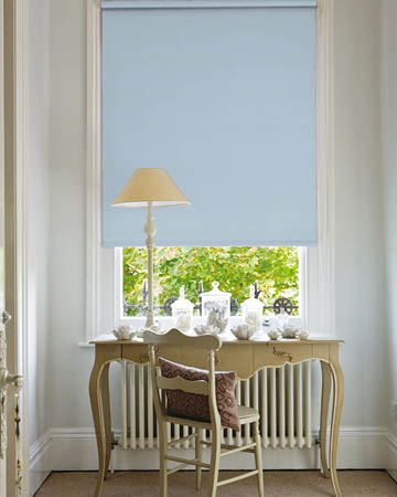 Wipeable Powder Blue Blackout Blinds
