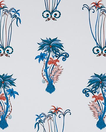 Clarke & Clarke Jungle Palms Blue Curtains