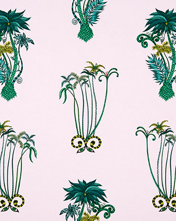 Clarke & Clarke Jungle Palms Pink Curtains