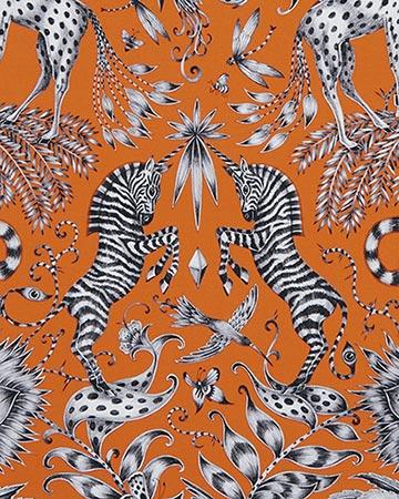 Clarke & Clarke Kruger Flame Curtains
