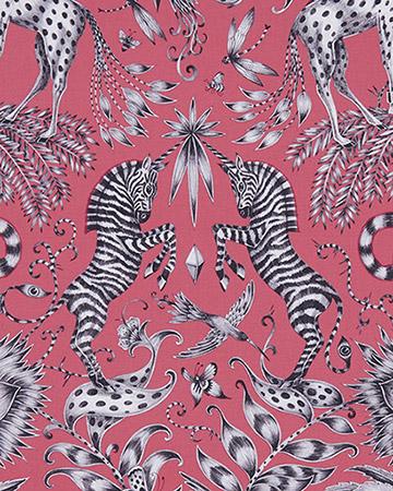 Clarke & Clarke Kruger Magenta Curtains