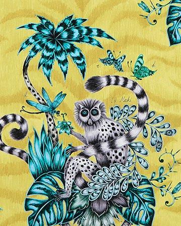 Clarke & Clarke Lemur Lime Curtains