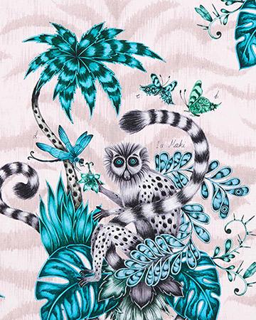 Clarke & Clarke Lemur Pink Curtains