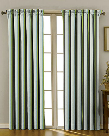 Crescendo Rayure Lime Curtains