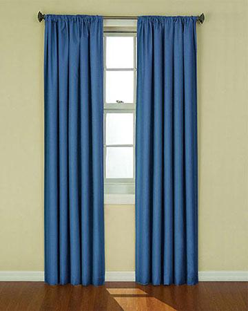 Faux Silk Dark Blue Curtains