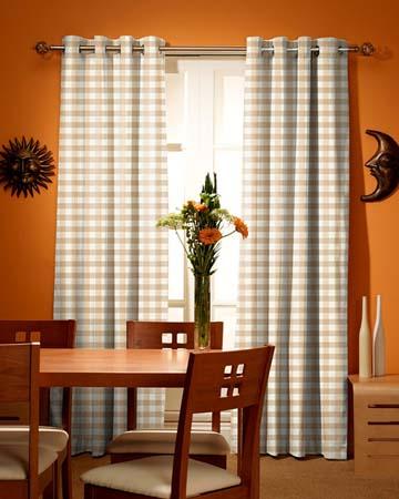 Tissu Pearl Bay Vichy Blanc Beige Curtains