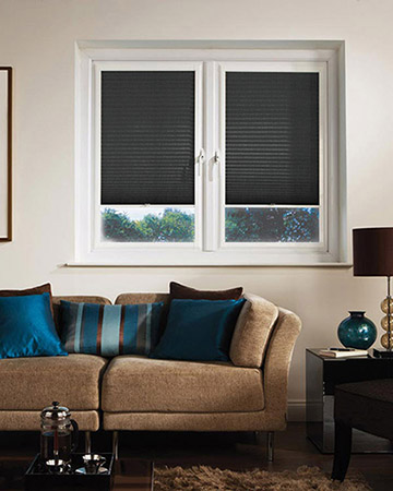Neat Fit Duo Black Pleated Blinds