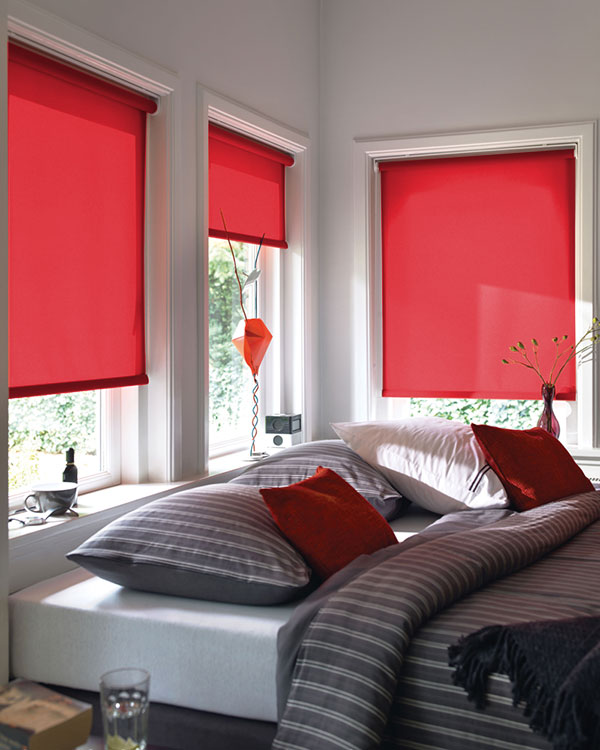 Plain Red Roller Blinds