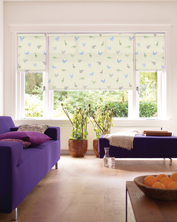 Louvolite Feathered Friends Bluebell Roller Blinds