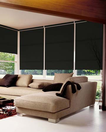 Louvolite Banbury Charcoal Roller Blinds