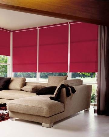 Plain Raspberry Roller Blinds