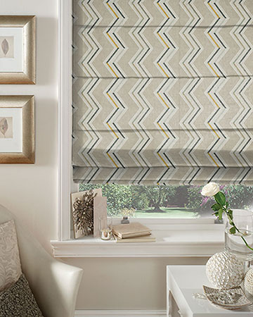 Clarke & Clarke Antibes Natural/Chartreuse Roman Blinds