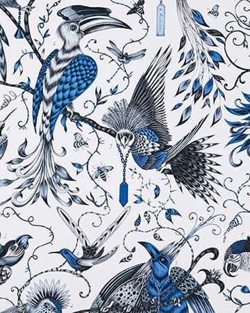 Clarke & Clarke Audubon Blue Roman Blinds