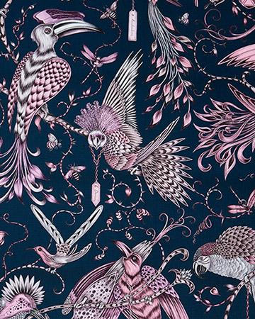 Clarke & Clarke Audubon Pink Roman Blinds