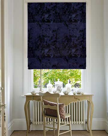Clarke & Clarke Crush Midnight Roman Blinds