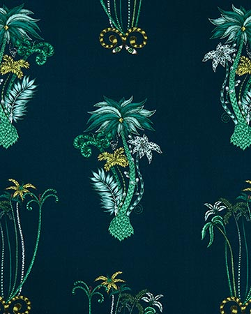Clarke & Clarke Jungle Palms Navy Roman Blinds