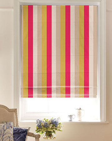 Clarke & Clarke Lawn Stripe Raspberry Roman Blinds