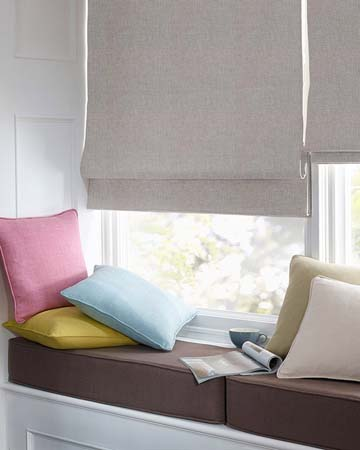 Clarke & Clarke Linoso Grey Roman Blinds