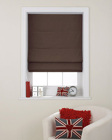 Clarke & Clarke Nantucket Espresso Roman Blinds