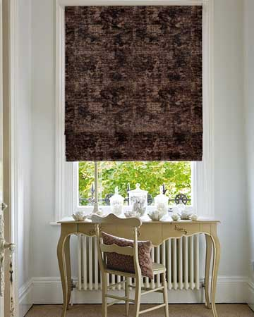 Clarke & Clarke Plush Chocolate Roman Blinds