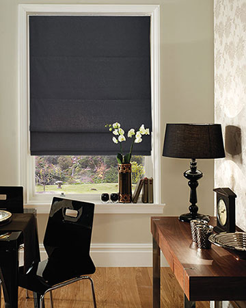 Clarke & Clarke Regal Charcoal Roman Blinds