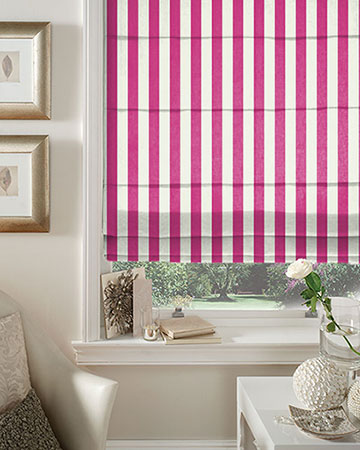 Clarke & Clarke St.James Stripe Fuchsia Roman Blinds