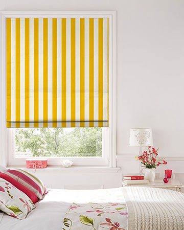 Clarke & Clarke St.James Stripe Gold Roman Blinds