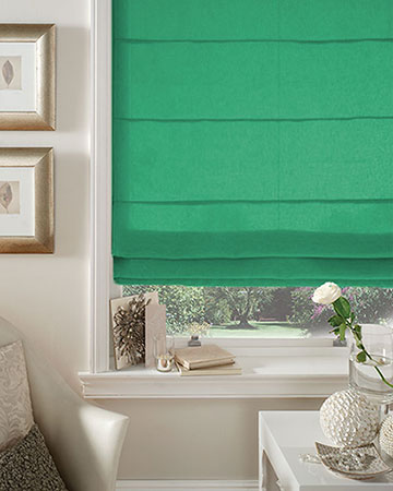 Kelly Green Roman Blinds