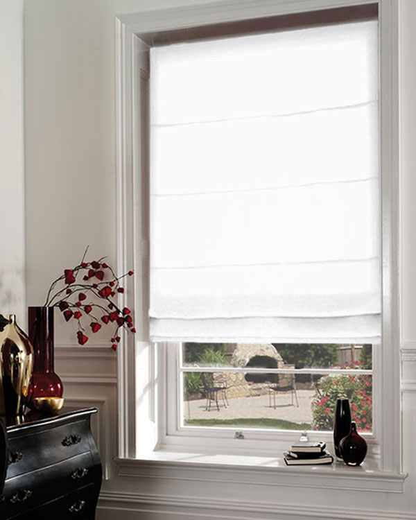 luxe white roman blinds. Black Bedroom Furniture Sets. Home Design Ideas
