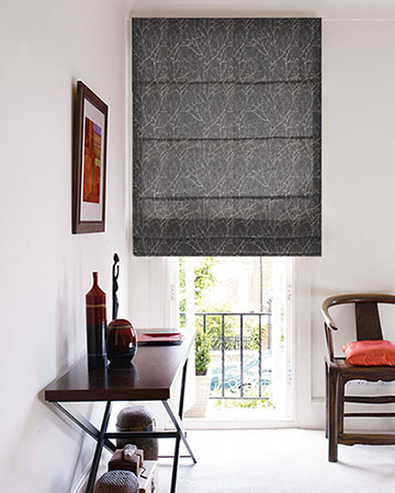 Ohio Tissus Arbre Anthracite Roman Blinds