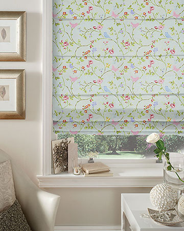 Studio G Bird Trail Seafoam Roman Blinds