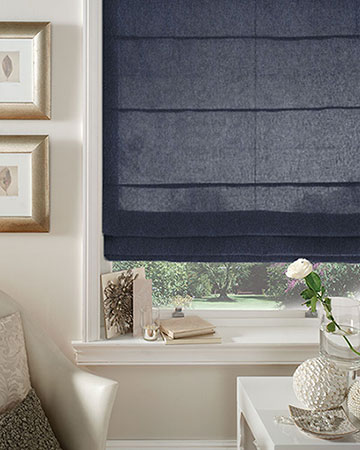 Tissu Native Empreinte Indigo Roman Blinds