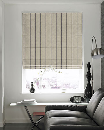 Tissu Native Stripe Noir Roman Blinds