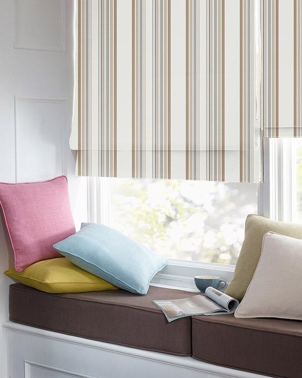 tissu optik rayure beige taupe gris ecru roman blinds. Black Bedroom Furniture Sets. Home Design Ideas
