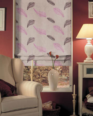 Tissu Origins Plume Prune Roman Blinds