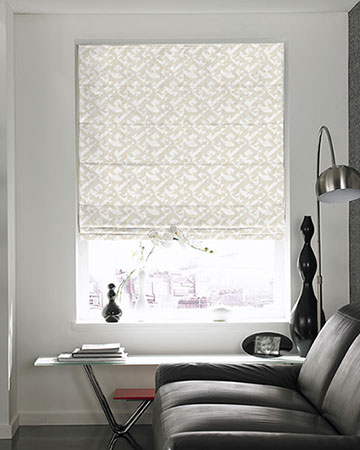 Tissus Berlin Puzzle Blanc Roman Blinds