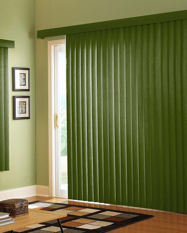 Army Green Wood Vertical Blinds