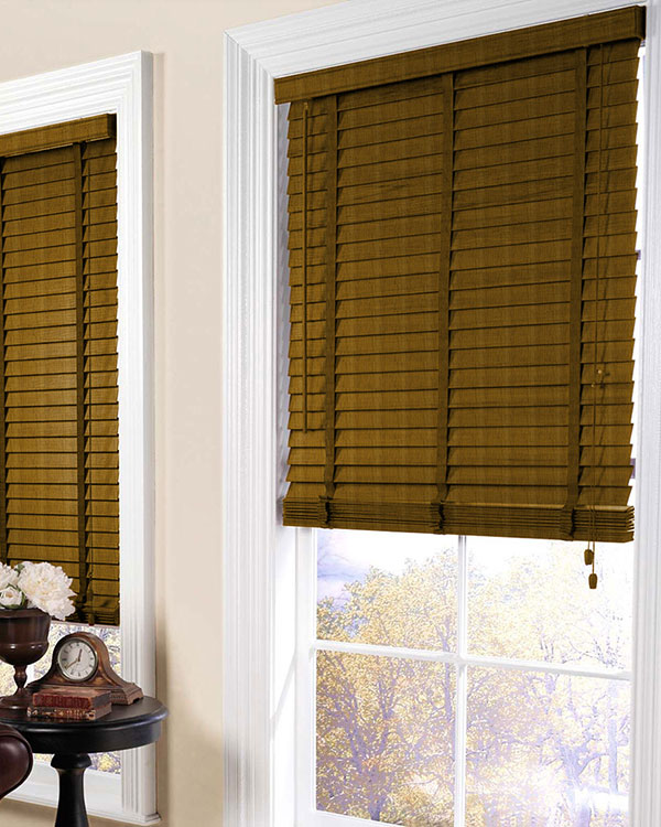 Aged White Oak Wooden Blinds